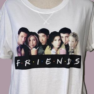 FRIENDS tshirt with tie bottom cast on front large